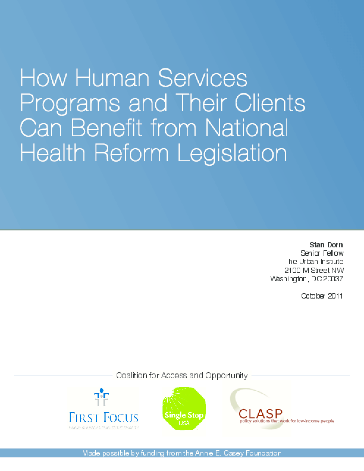 How Human Services Programs and Their Clients Can Benefit From National Health Reform Legislation