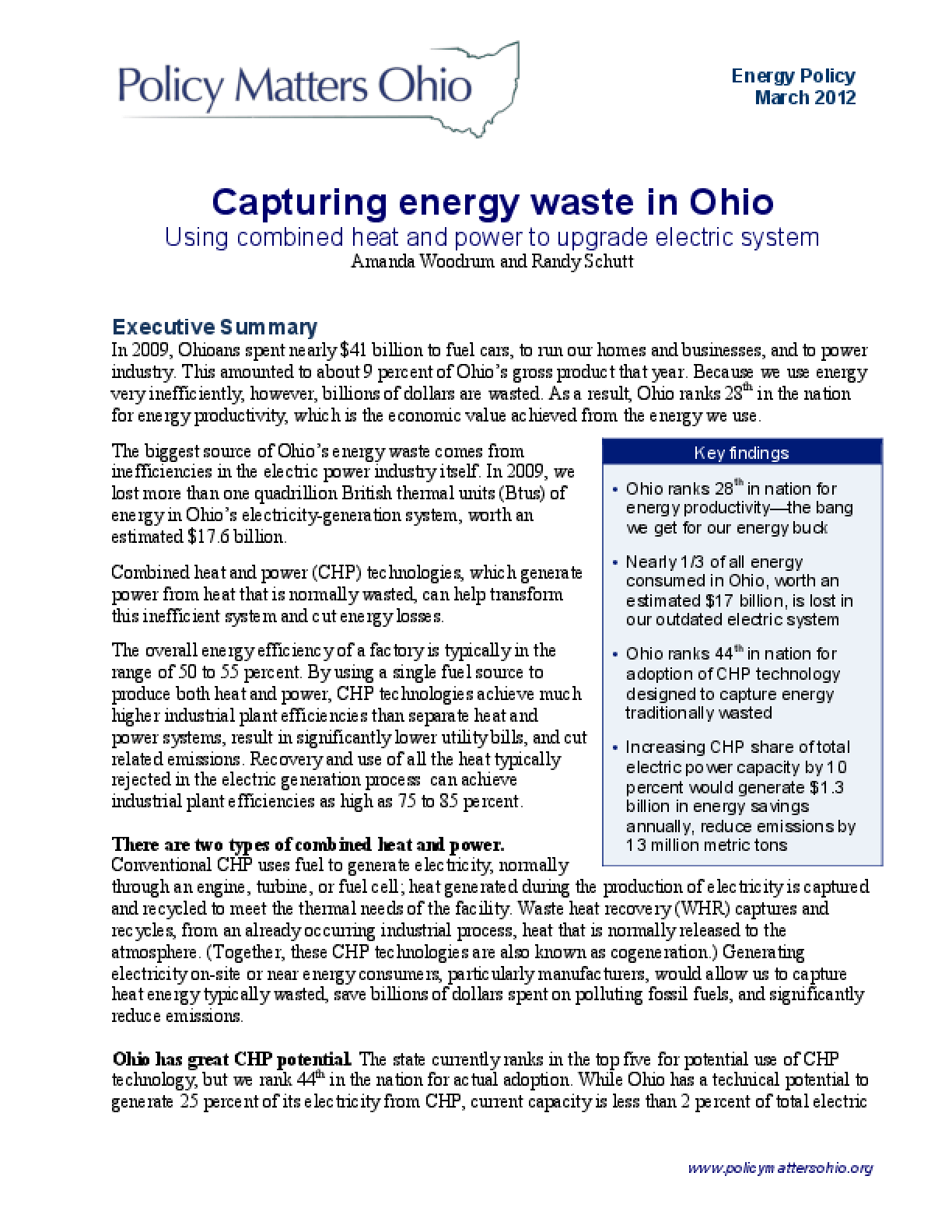 Capturing Energy Waste in Ohio: Using Combined Heat and Power to Upgrade Our Electric System