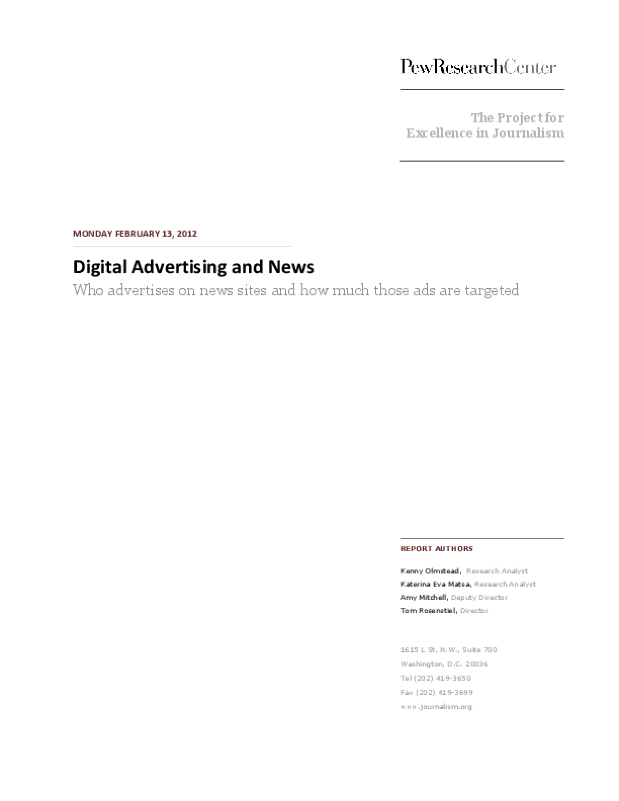 Digital Advertising and News: Who Advertises on News Sites and How Much Those Ads Are Targeted
