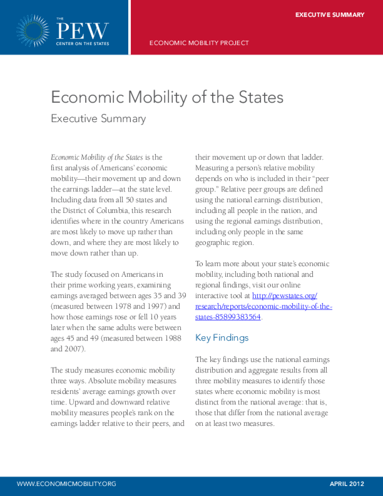 Economic Mobility of the States: Executive Summary