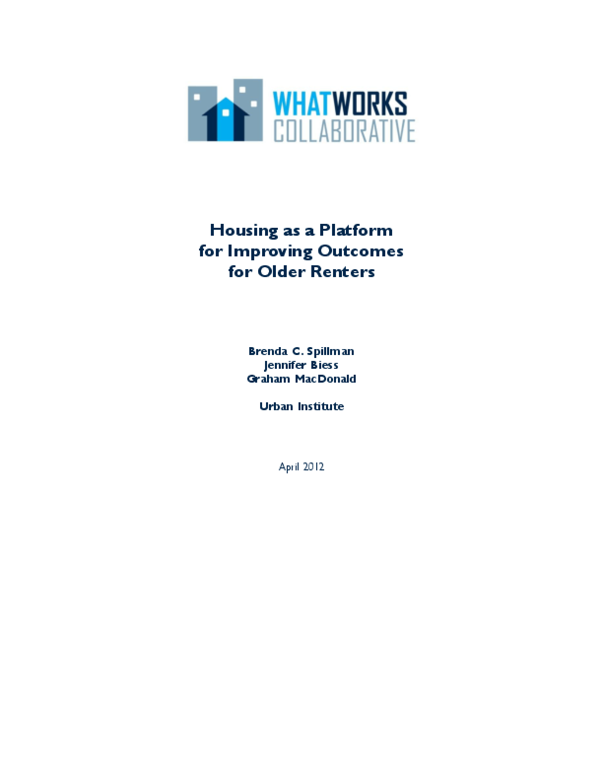 Housing as a Platform for Improving Outcomes for Older Renters