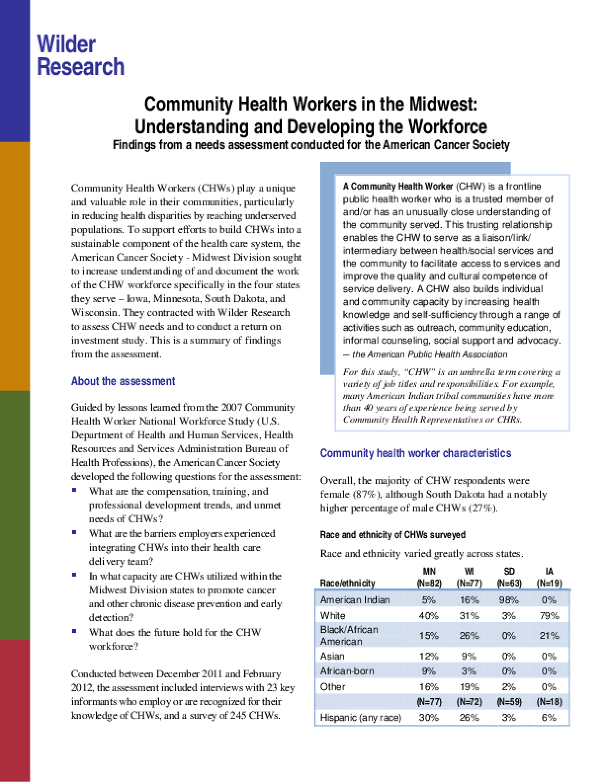 Community Health Workers in the Midwest: Understanding and Developing the Workforce