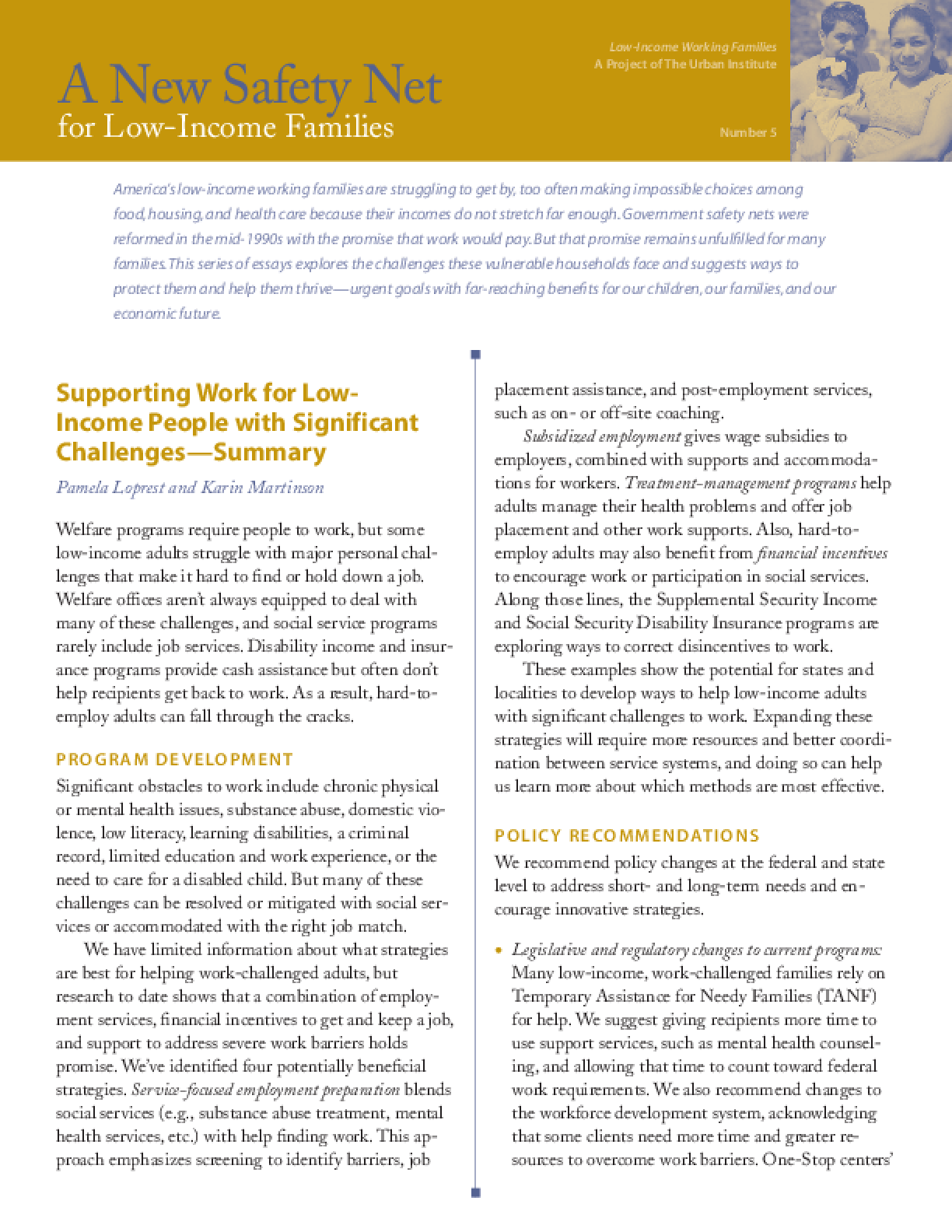 Supporting Work for Low-Income People With Significant Challenges Summary