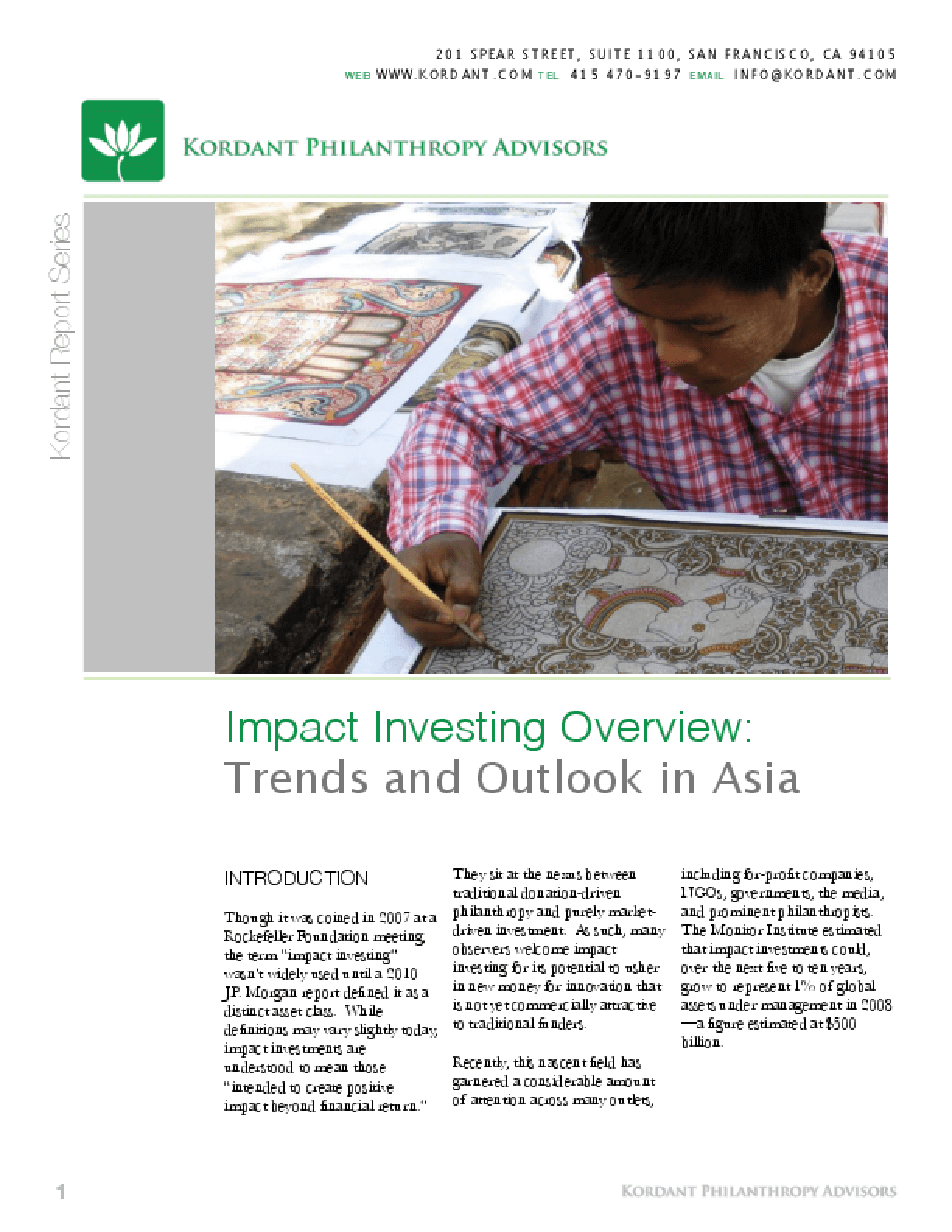 Impact Investing: Trends and Outlook in Asia