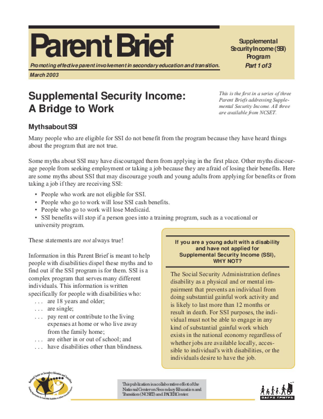Supplemental Security Income: A Bridge to Work