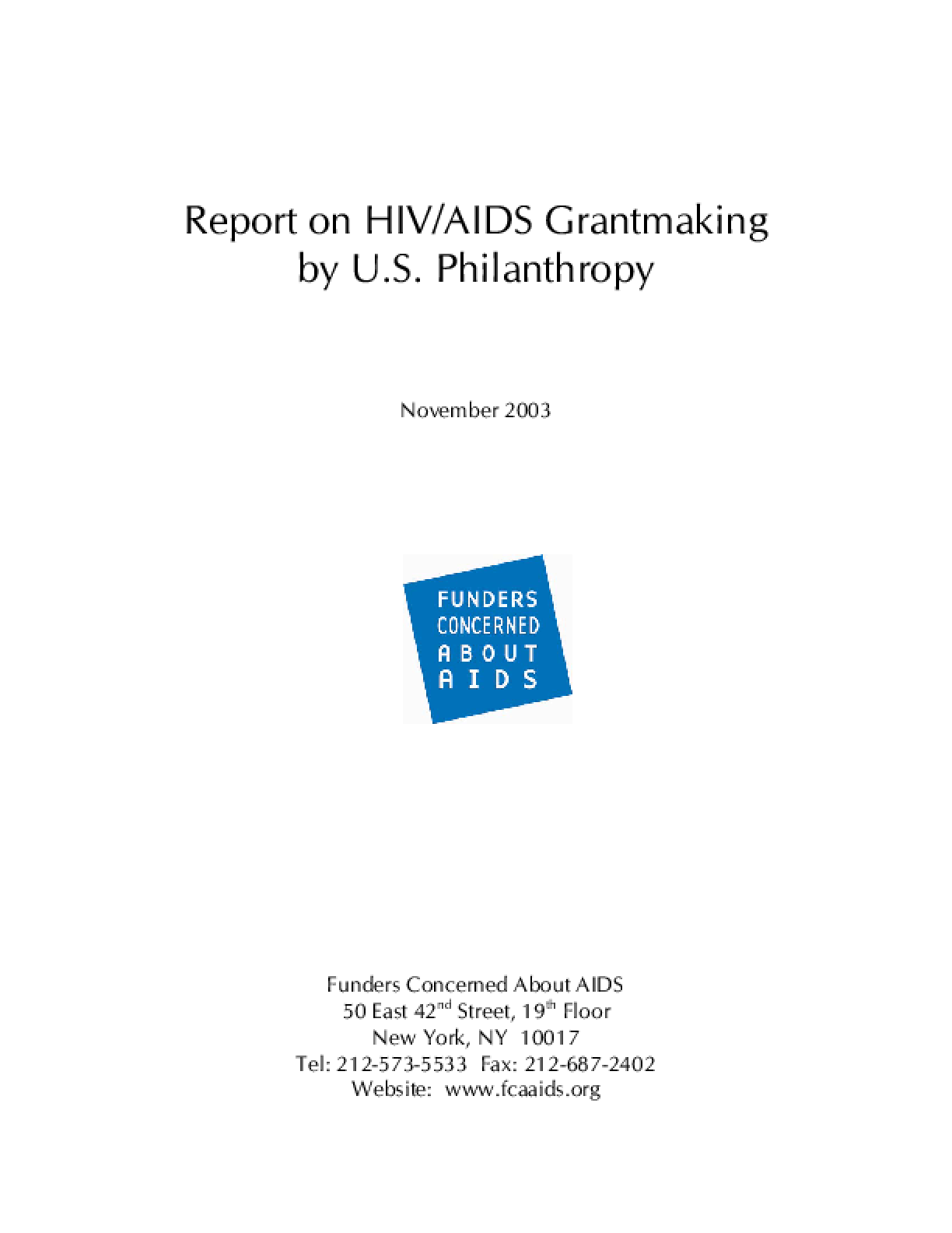 Report On HIV/AIDS Grantmaking By U.S. Philanthropy