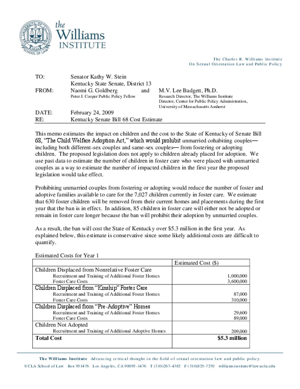Kentucky Foster Care/Adoption Ban Cost Estimate
