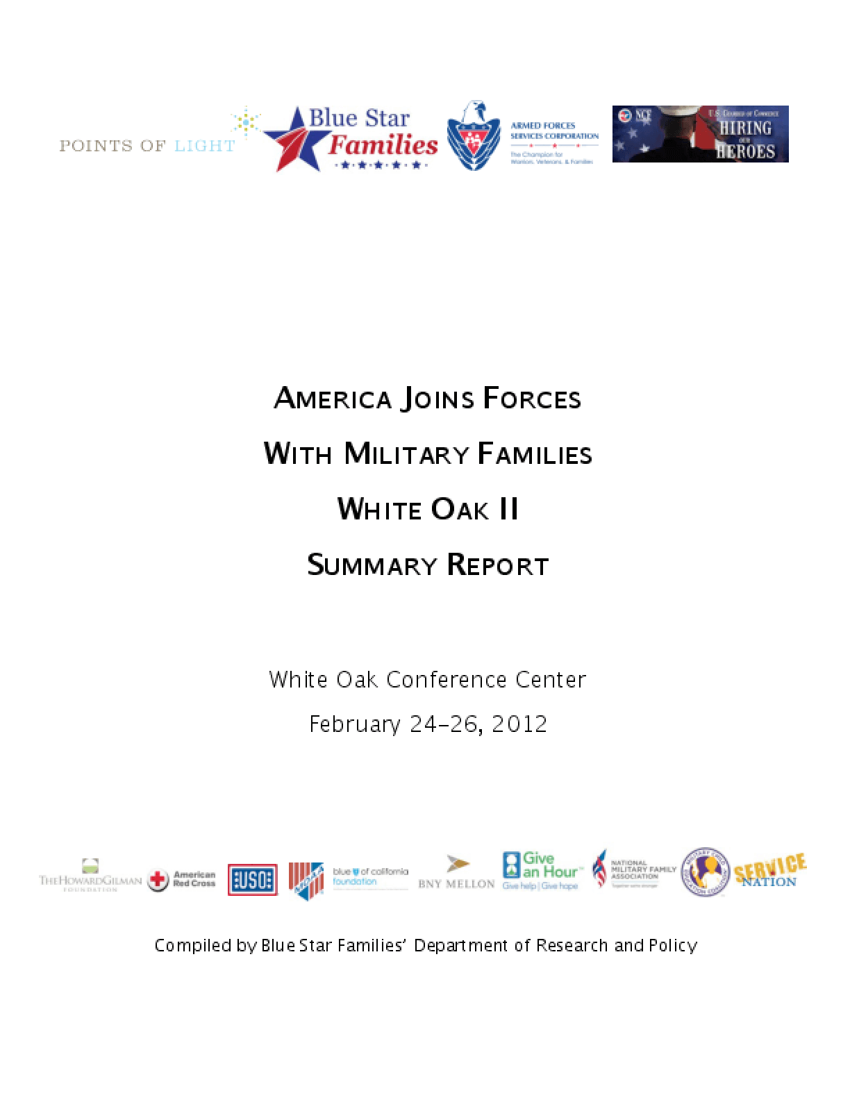 America Joins Forces with Military Families: White Oak II Summary Report