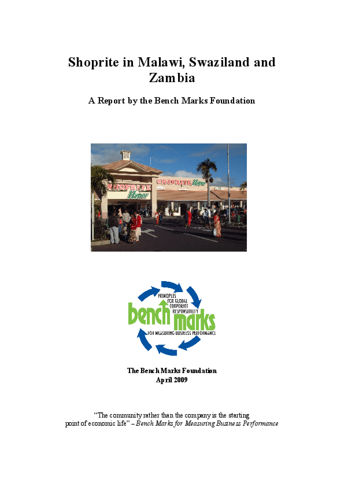 Shoprite in Malawi, Swaziland and Zambia: A Report by the Bench Marks Foundation