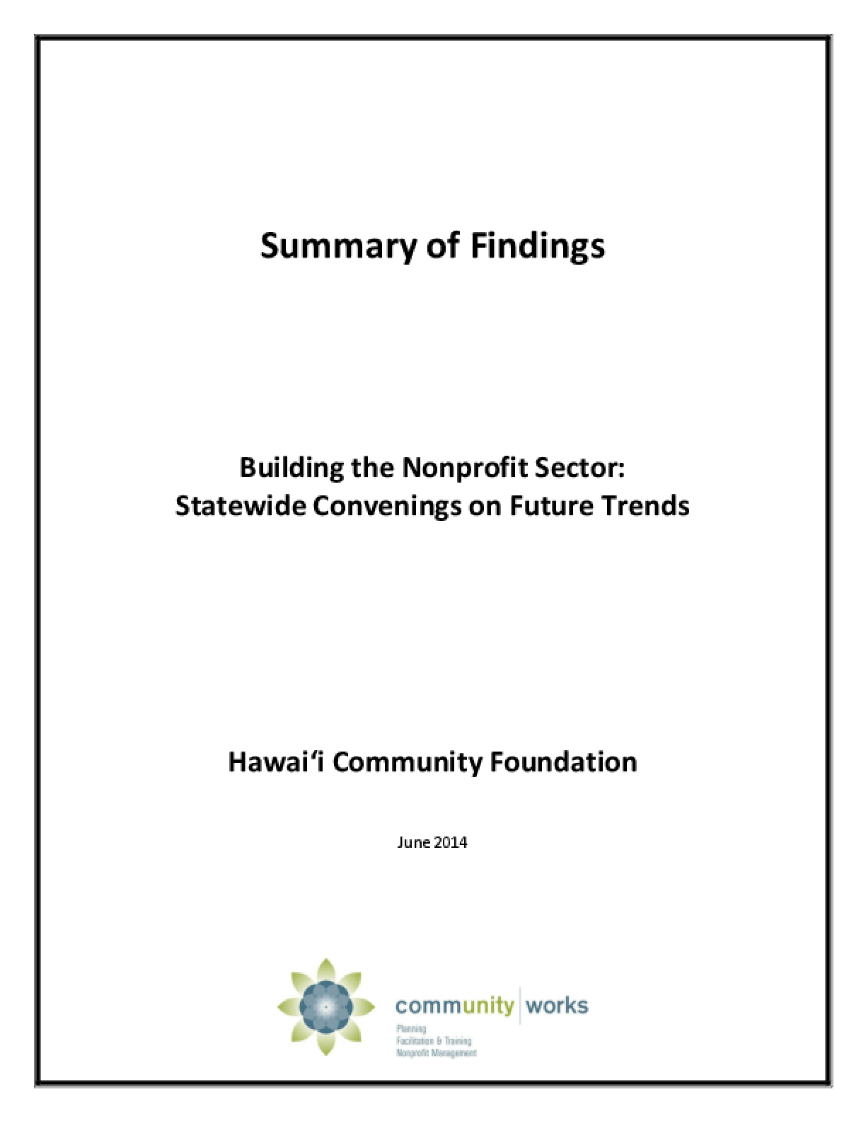 Building the Nonprofit Sector: Statewide Convenings on Future Trends
