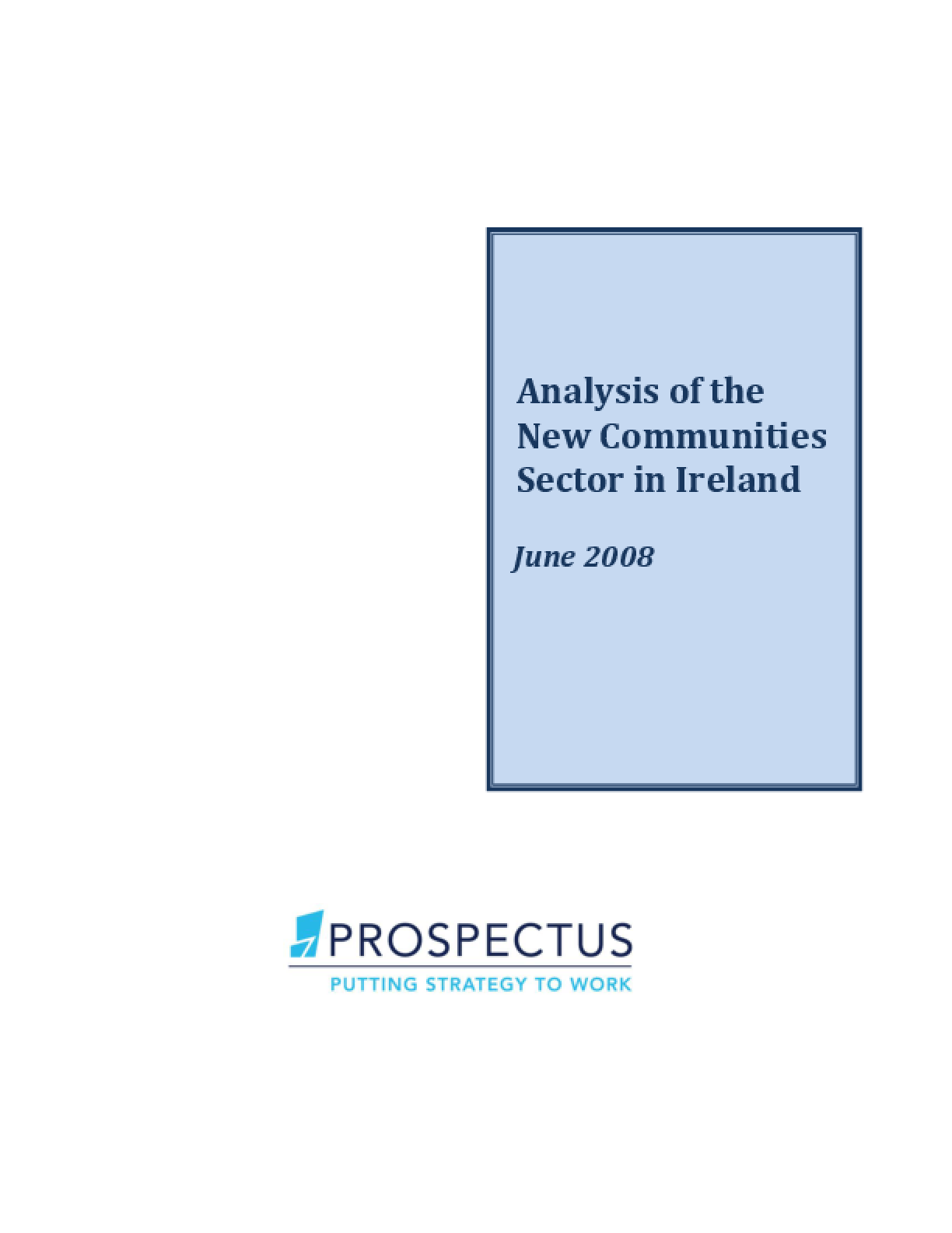 Analysis of the New Communities Sector in Ireland