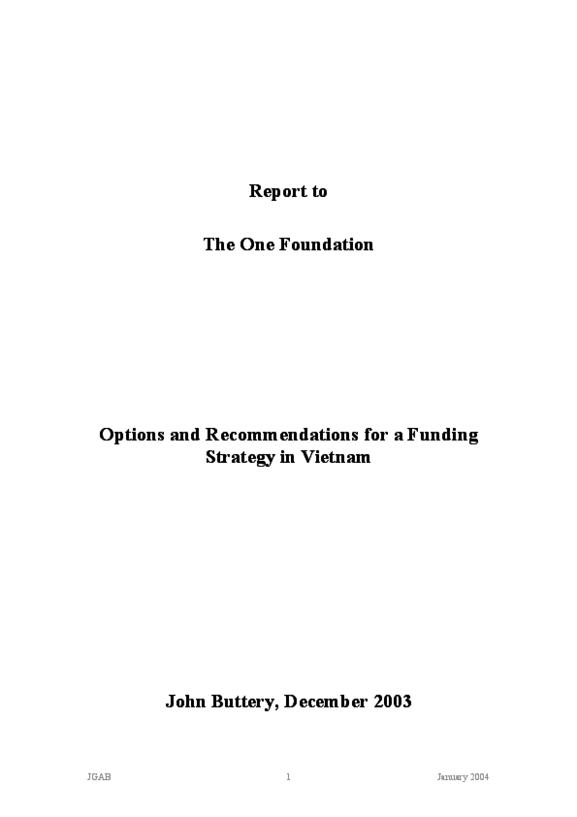 Options and Recommendations for a Funding Strategy in Vietnam