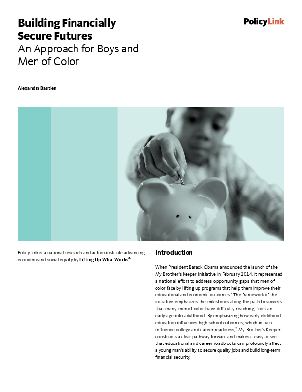 Building Financially Secure Futures: An Approach for Boys and Men of Color
