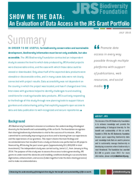 Show Me The Data: An Evaluation Of Data Access In The JRS Grant Portfolio