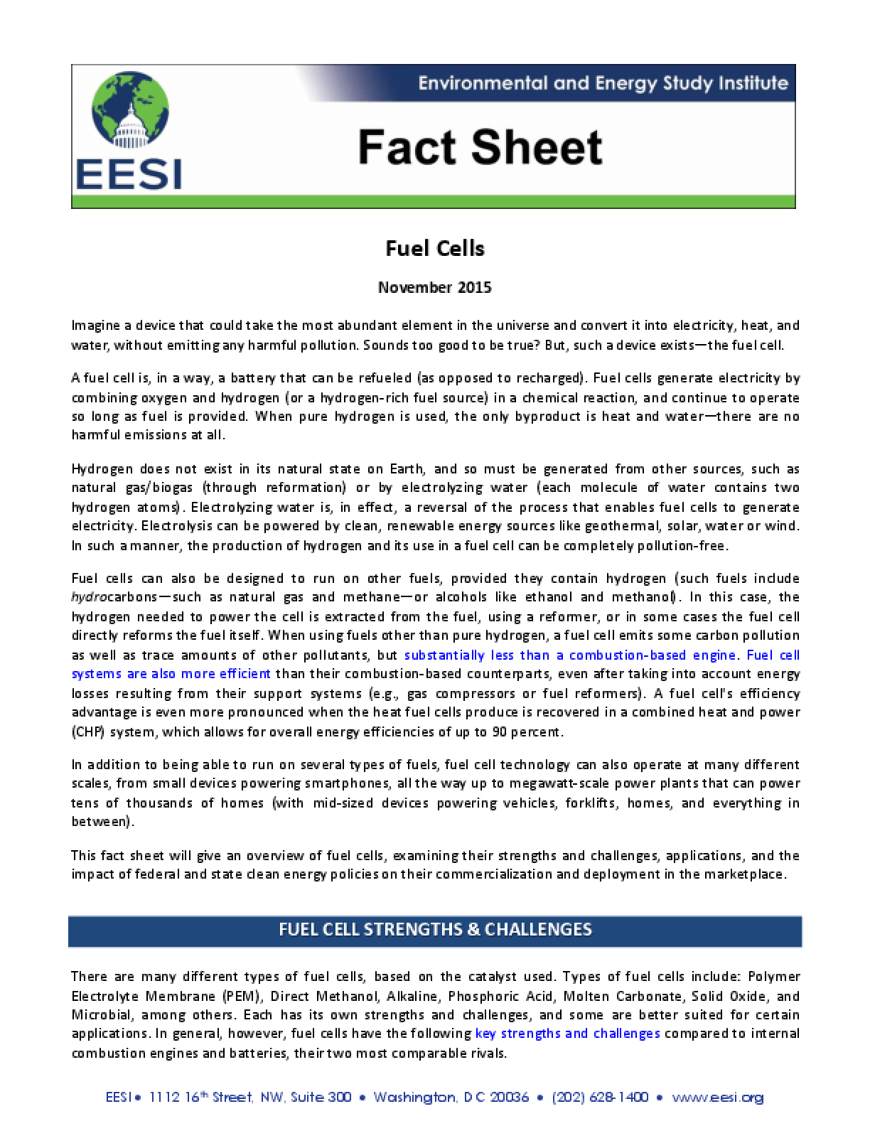 Fact Sheet: Fuel Cells
