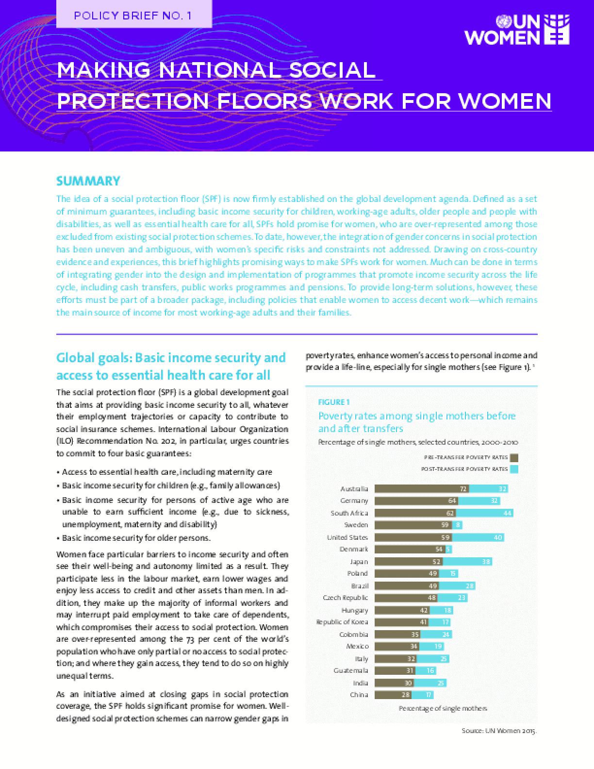 Making National Social Protection Floors Work for Women