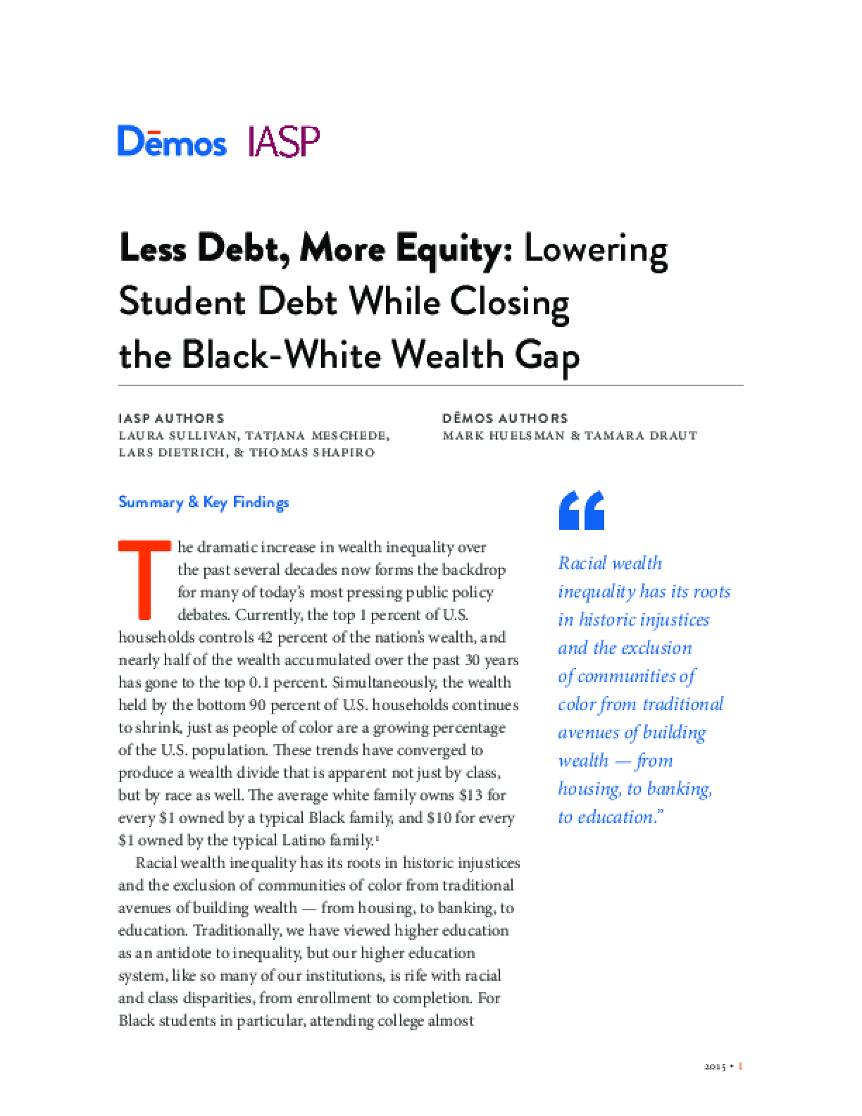 Less Debt, More Equity: Lowering Student Debt While Closing the Black-White Wealth Gap