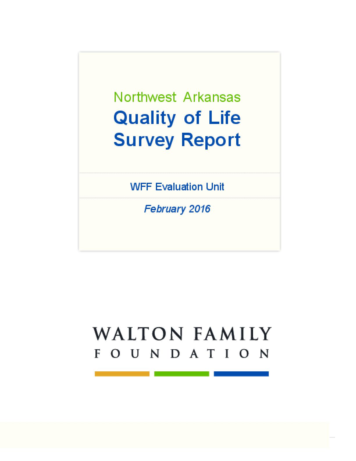 Northwest Arkansas Quality of Life Survey Report