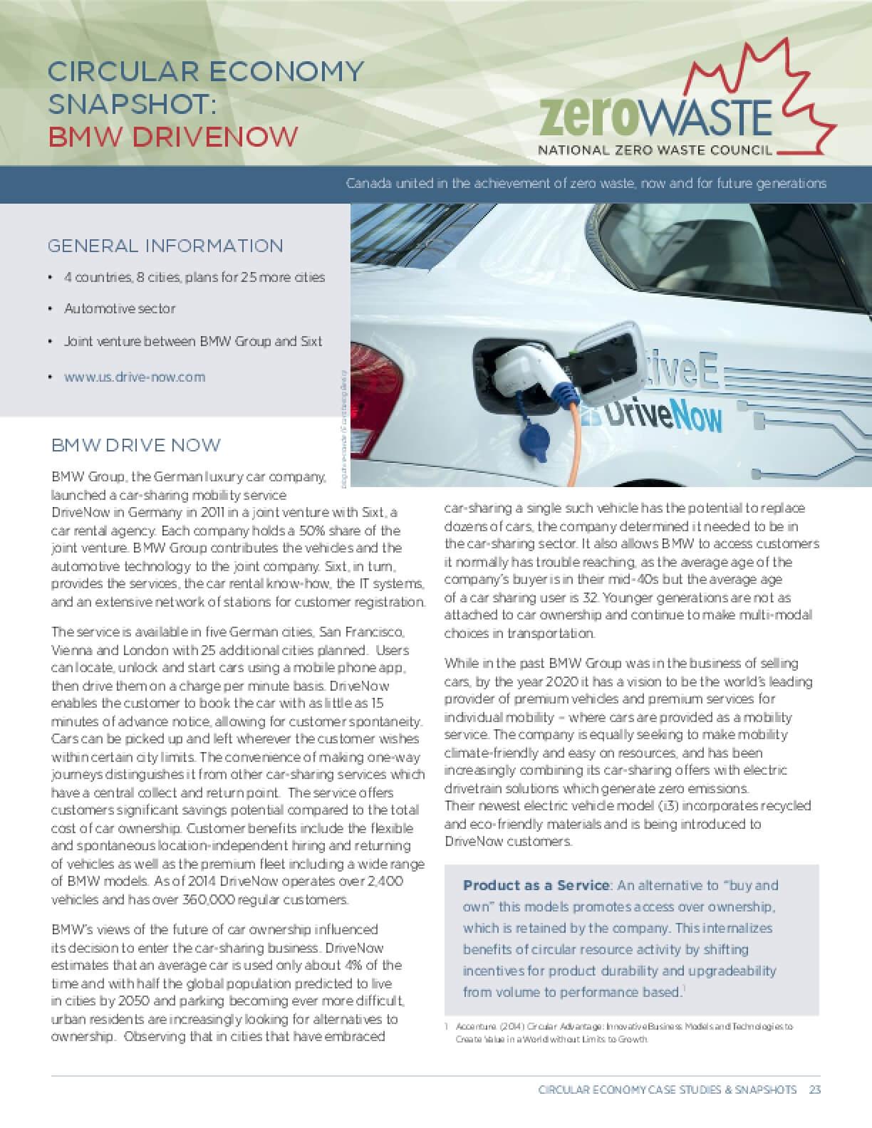 Circular Economy Snapshot: BMW Drivenow