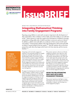 Integrating Mathematical Thinking Into Family Engagement Programs