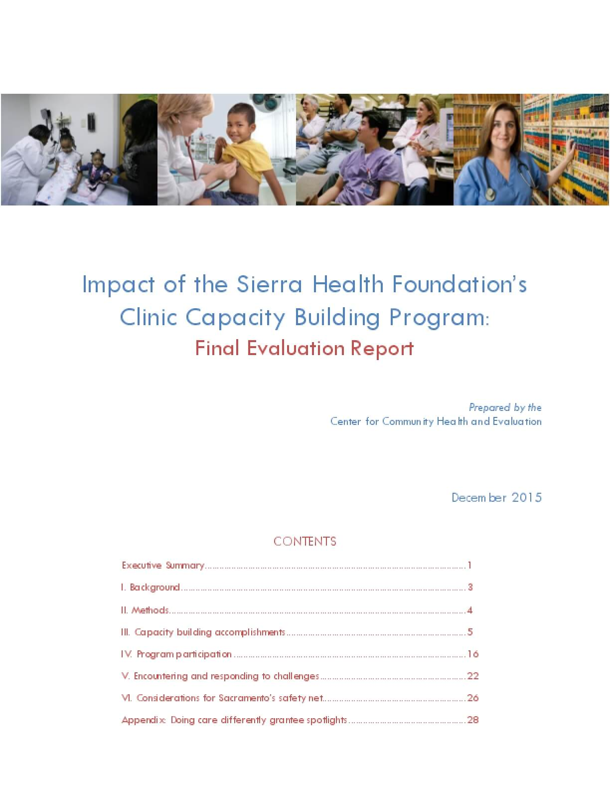 Impact of the Sierra Health Foundation's Clinic Capacity Building Program: Final Evaluation Report