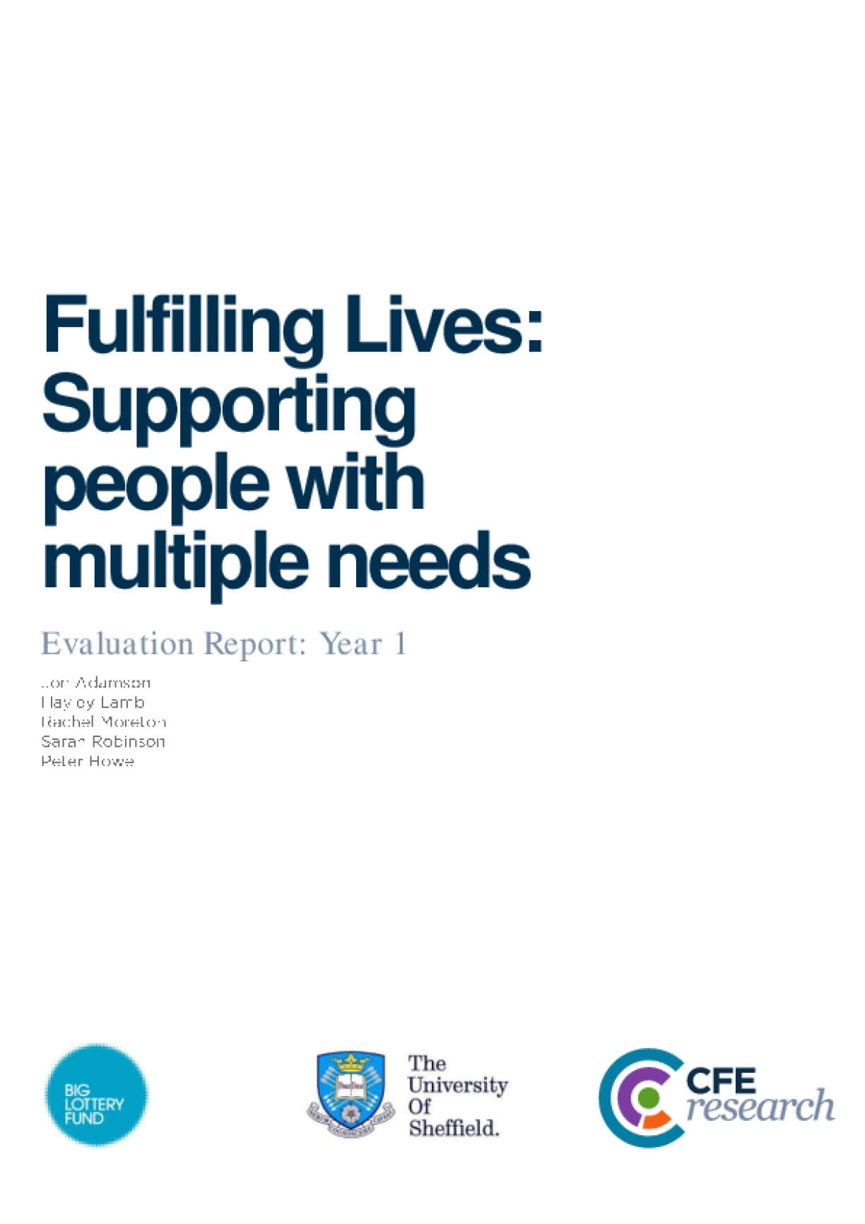 Fulfilling Lives: Supporting people with multiple needs, Evaluation Report, Year 1