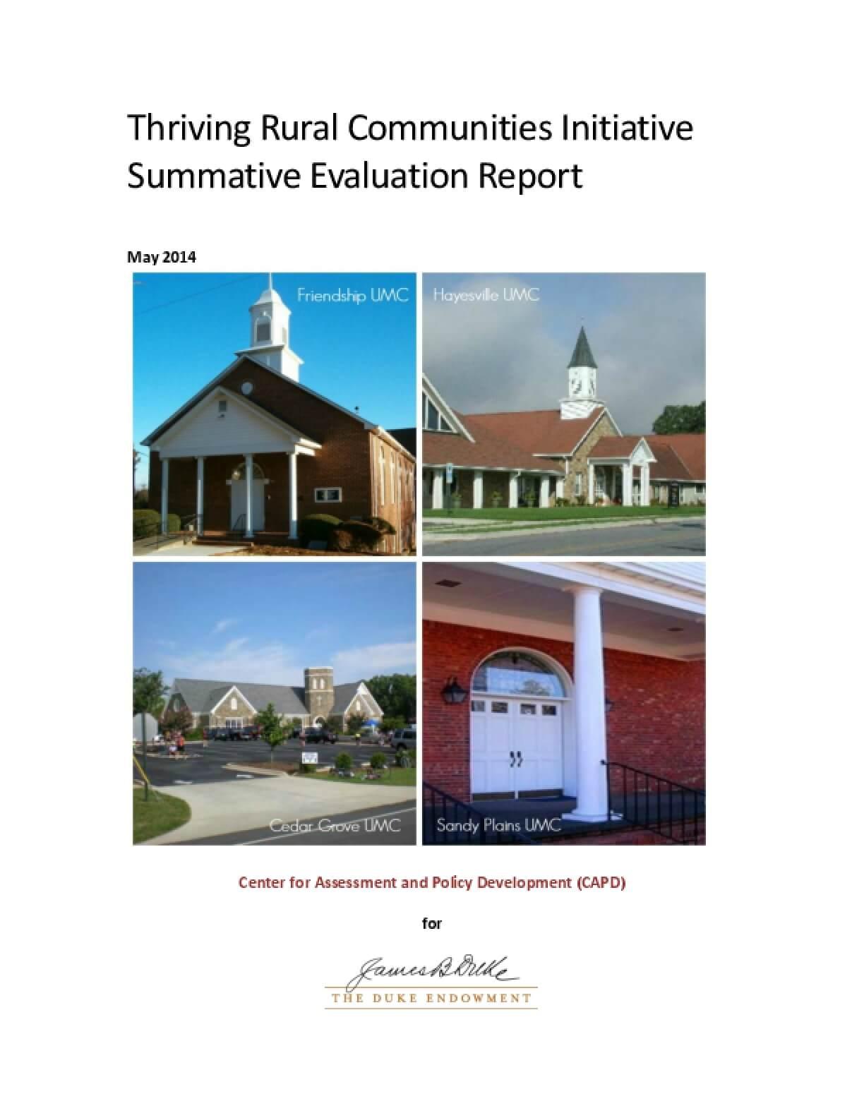 Thriving Rural Communities Initiative Summative Evaluation Report