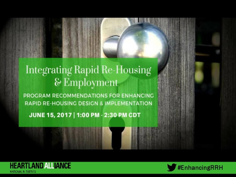Integrating Rapid Re-Housing & Employment: Program Recommendations for Enhancing Rapid Re-Housing Design & Implementation