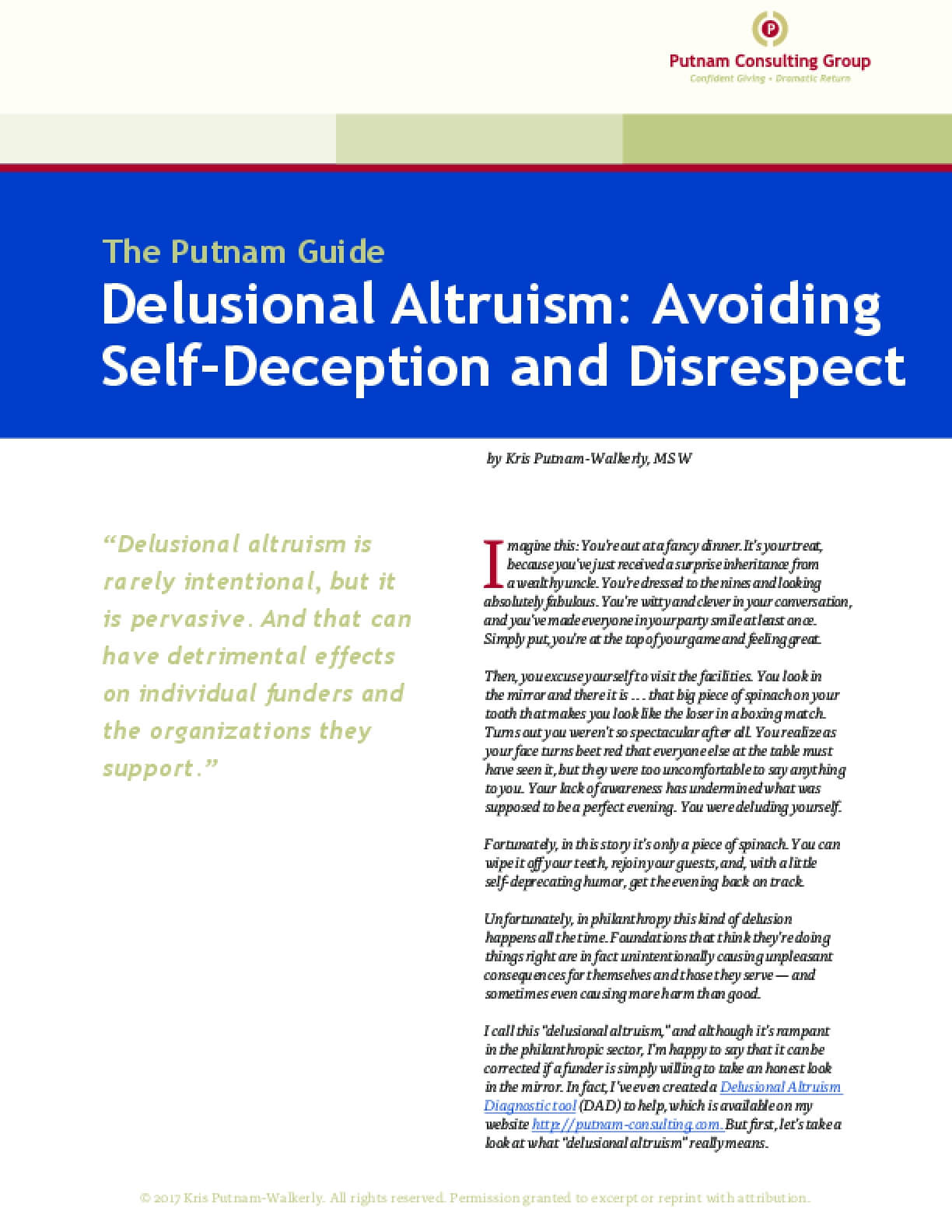 Delusional Altruism: Avoiding Self-Deception and Disrespect