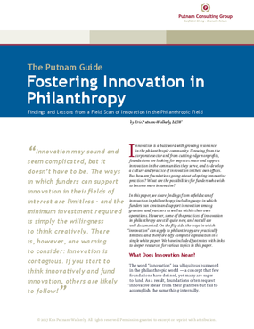 Fostering Innovation in Philanthropy