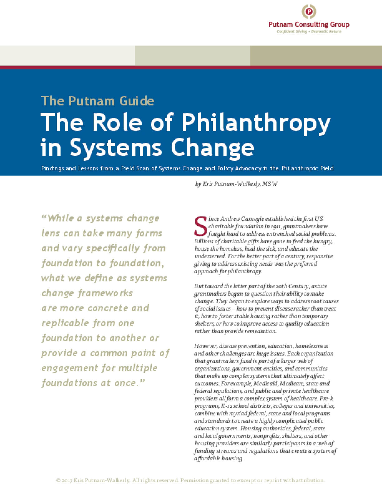 The Role of Philanthropy in Systems Change