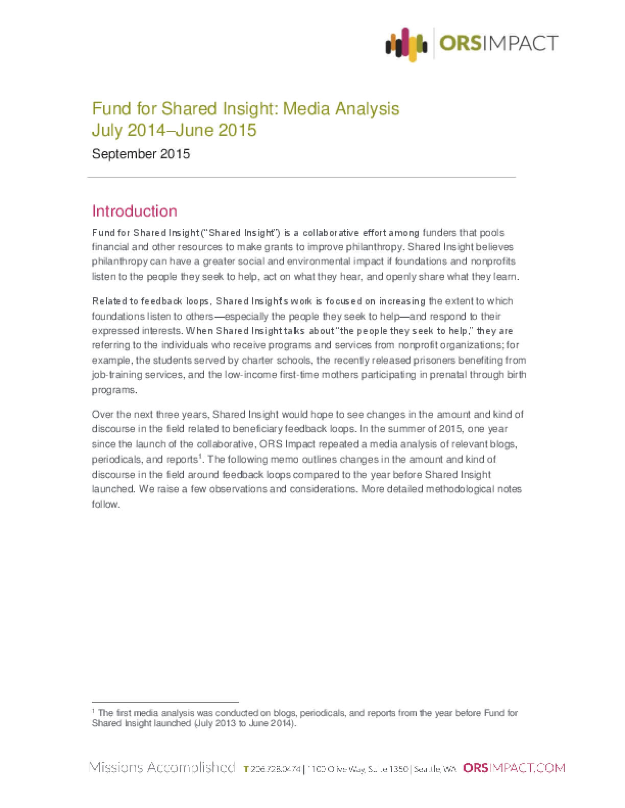 Fund for Shared Insight: Media Analysis