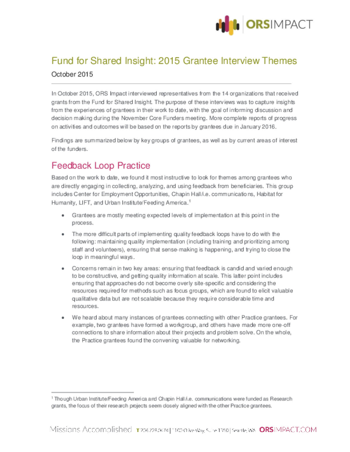 Fund for Shared Insight: 2015 Grantee Interview Themes