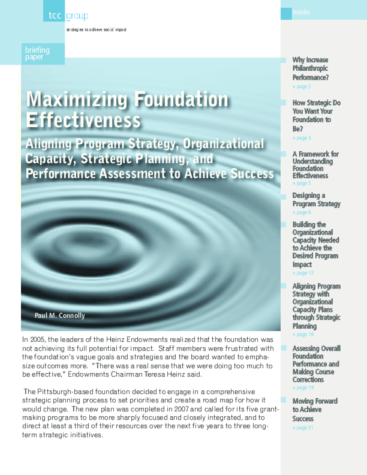 Maximizing Foundation Effectiveness: Aligning Program Strategy, Organizational Capacity, Strategic Planning, and Performance Assessment to Achieve Success