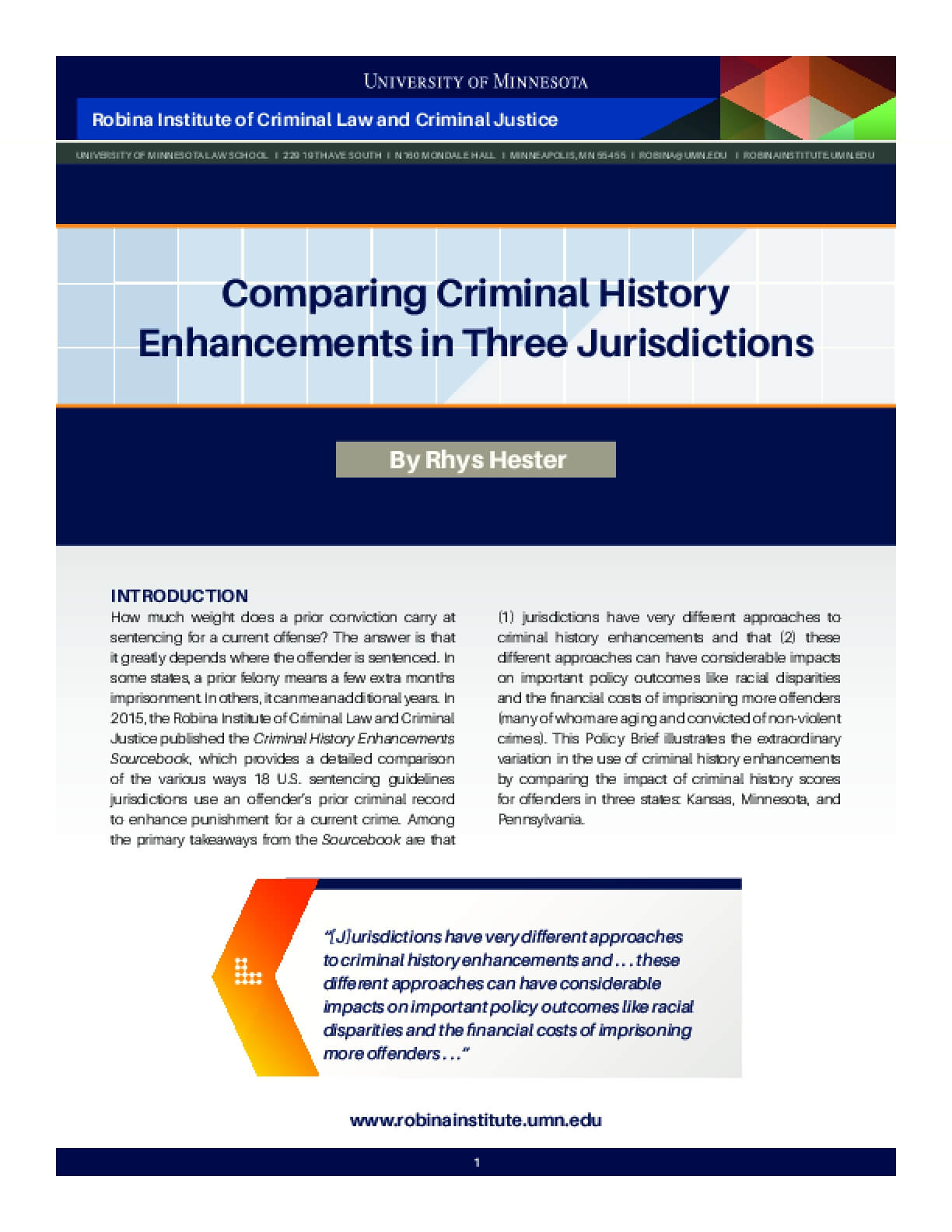 Comparing Criminal History Enhancements in Three Jurisdictions