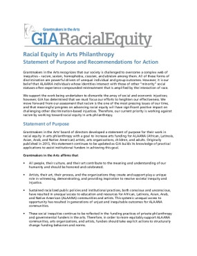 Racial Equity in Arts Philanthropy: Statement of Purpose
