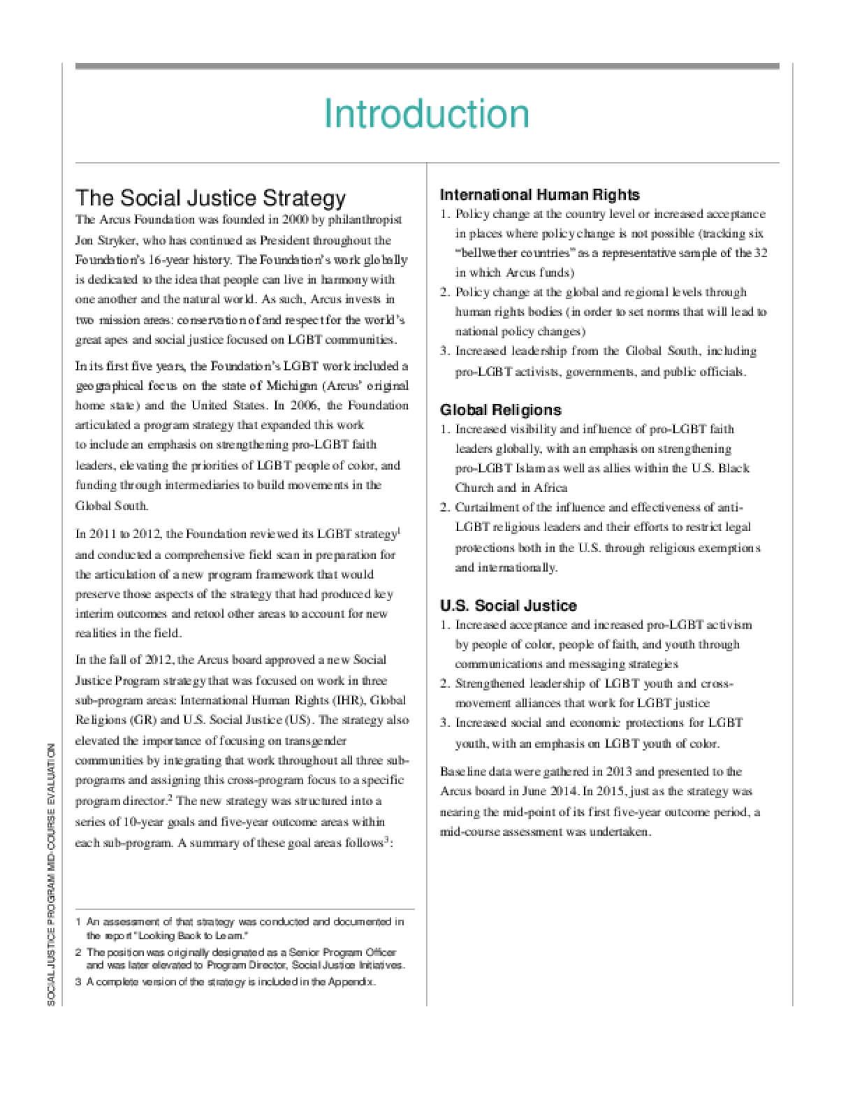Social Justice Program Mid-course Evaluation (2016)