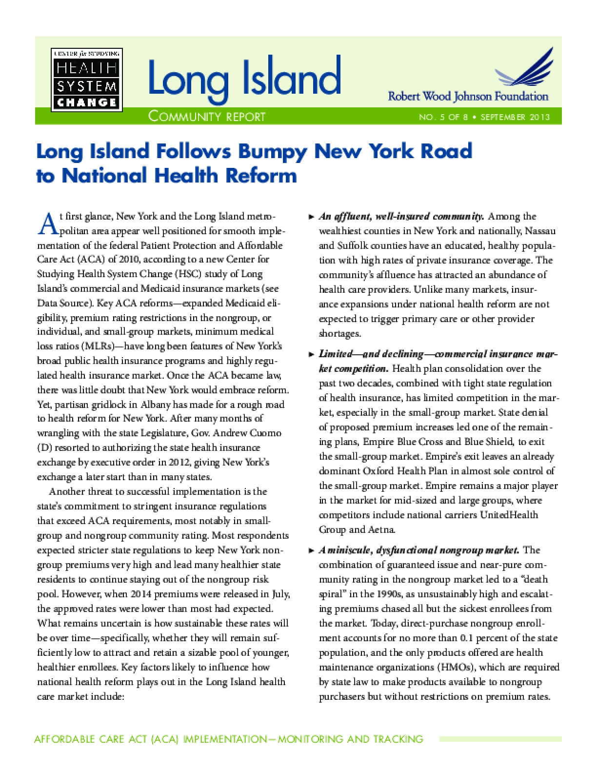 Long Island Follows Bumpy New York Road to National Health Reform