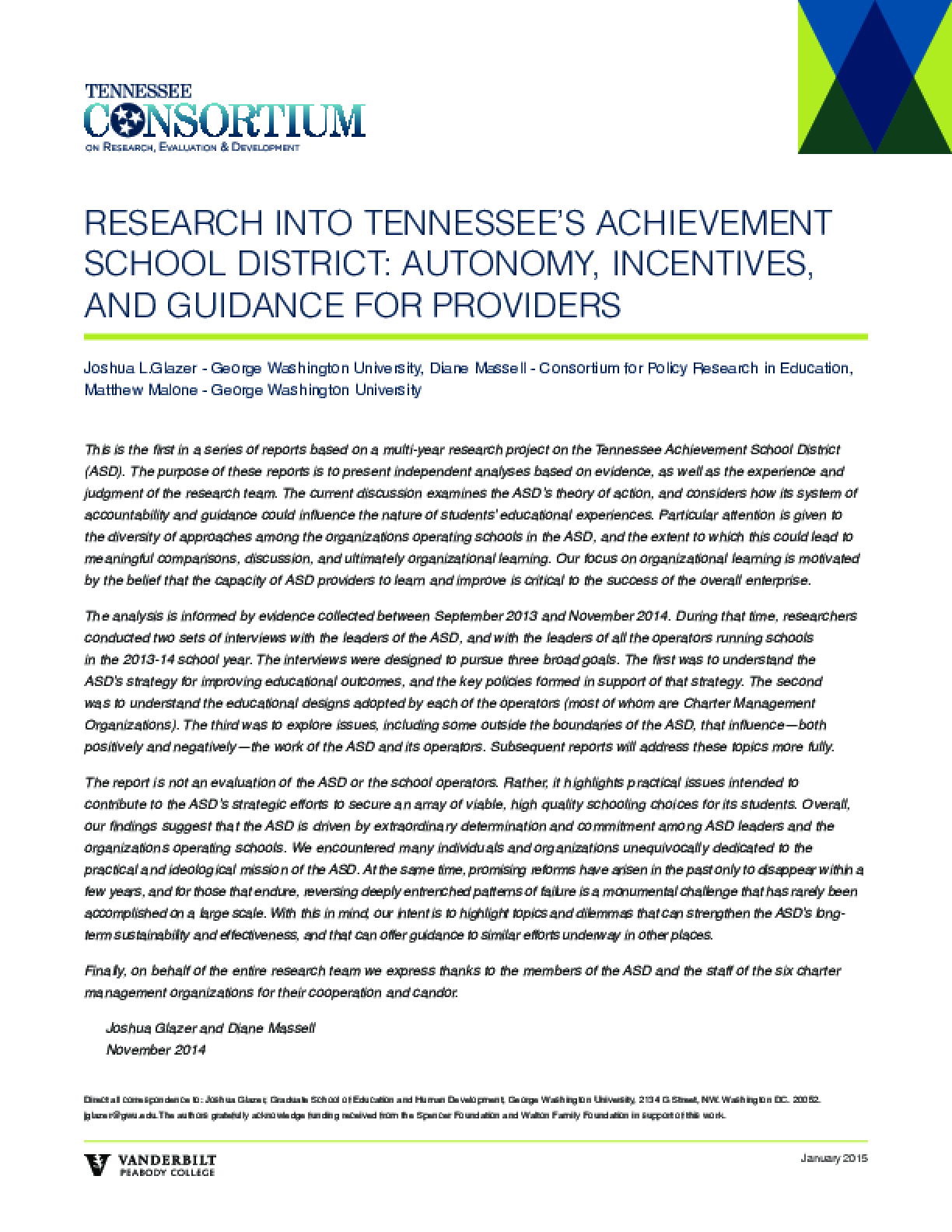 Research Into Tennessee's Achievement School District: Autonomy, Incentives, and Guidance for Providers