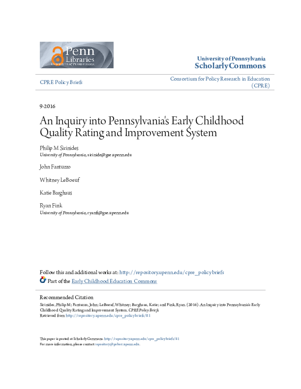 An Inquiry into Pennsylvania's Early Childhood Quality Rating and Improvement System