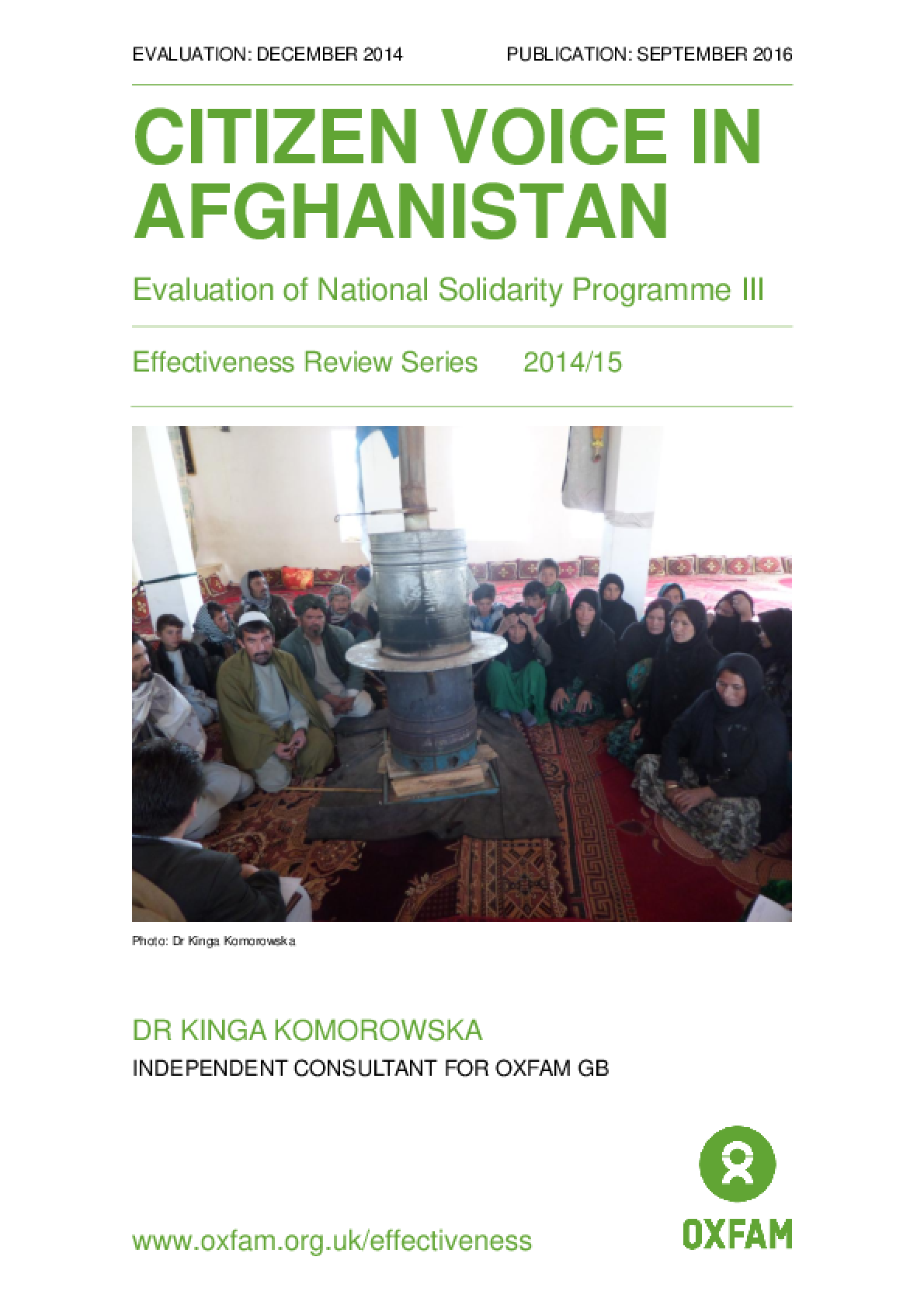 Citizen Voice in Afghanistan: Evaluation of National Solidarity Programme III