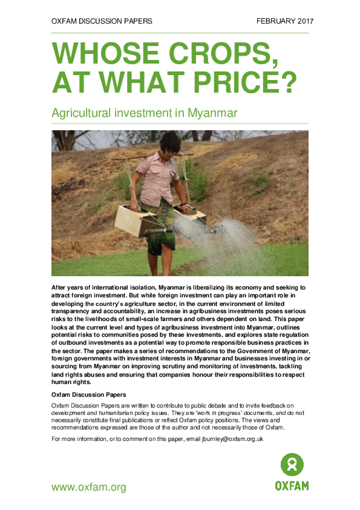 Whose Crops, At What Price? Agricultural investment in Myanmar