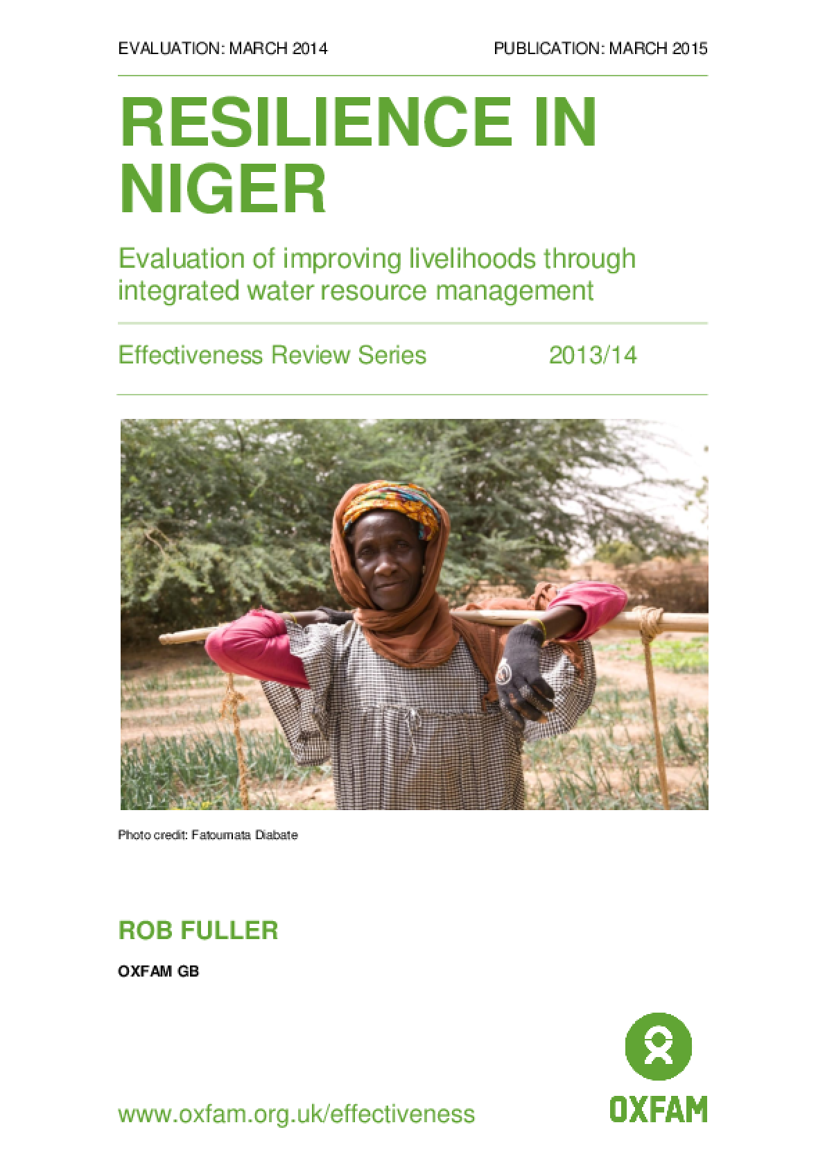 Resilience in Niger: Evaluation of improving livelihoods through integrated water resource management