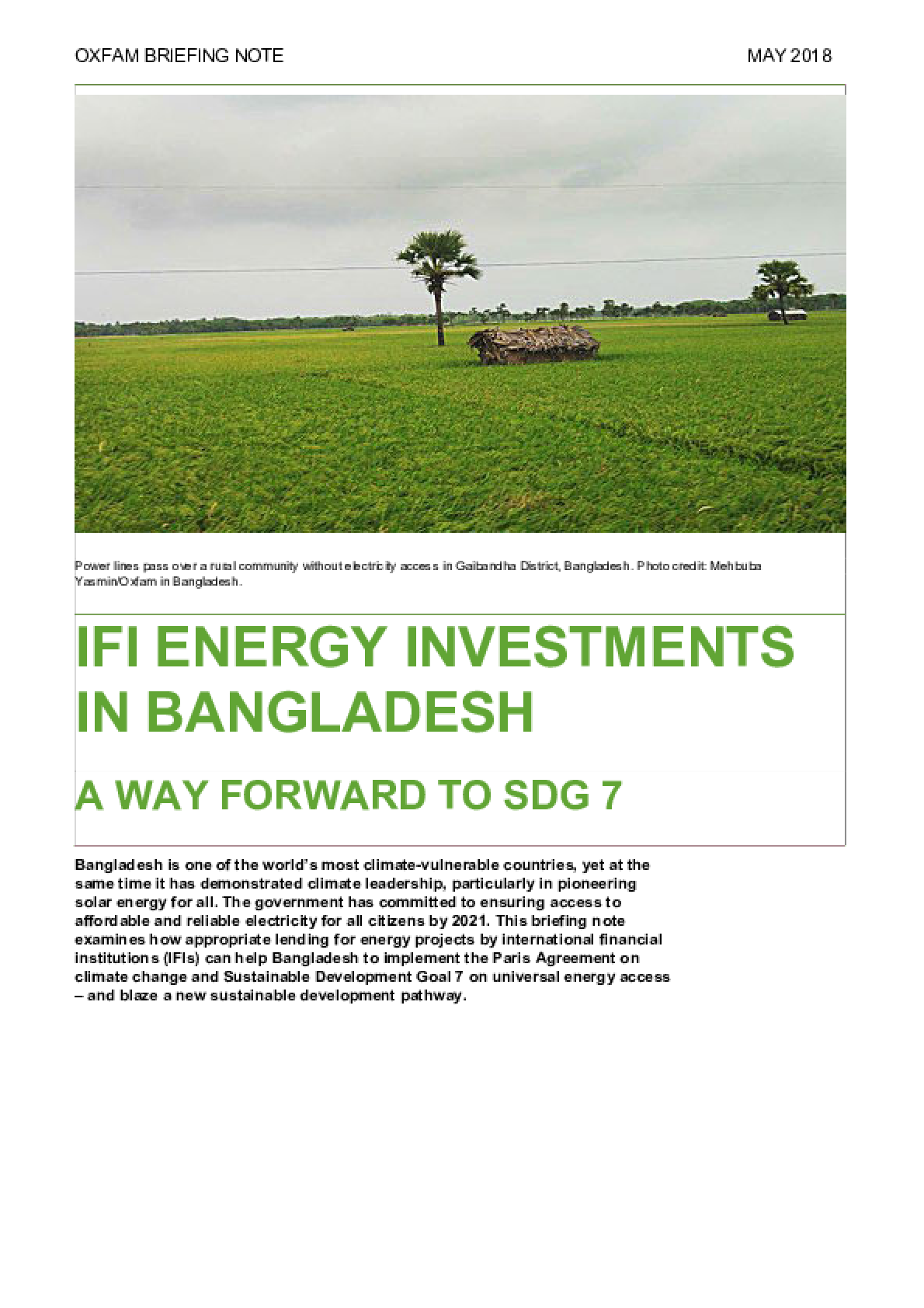IFI Energy Investments in Bangladesh: A way forward to SDG 7