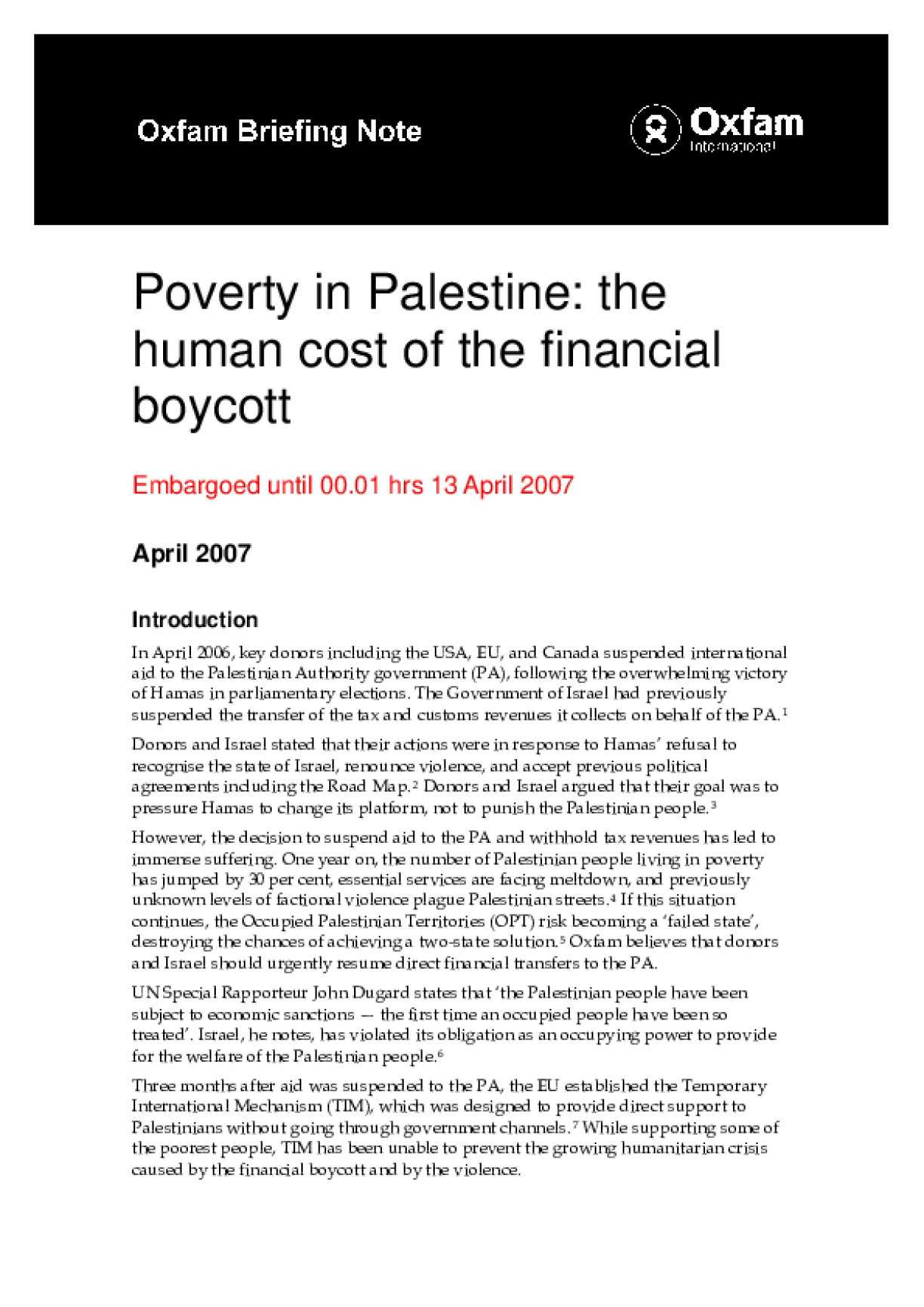 Poverty in Palestine: The human cost of the financial boycott