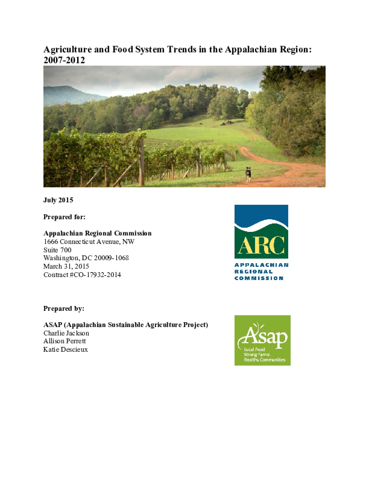 Agriculture and Food System Trends in the Appalachian Region:  2007- 2012