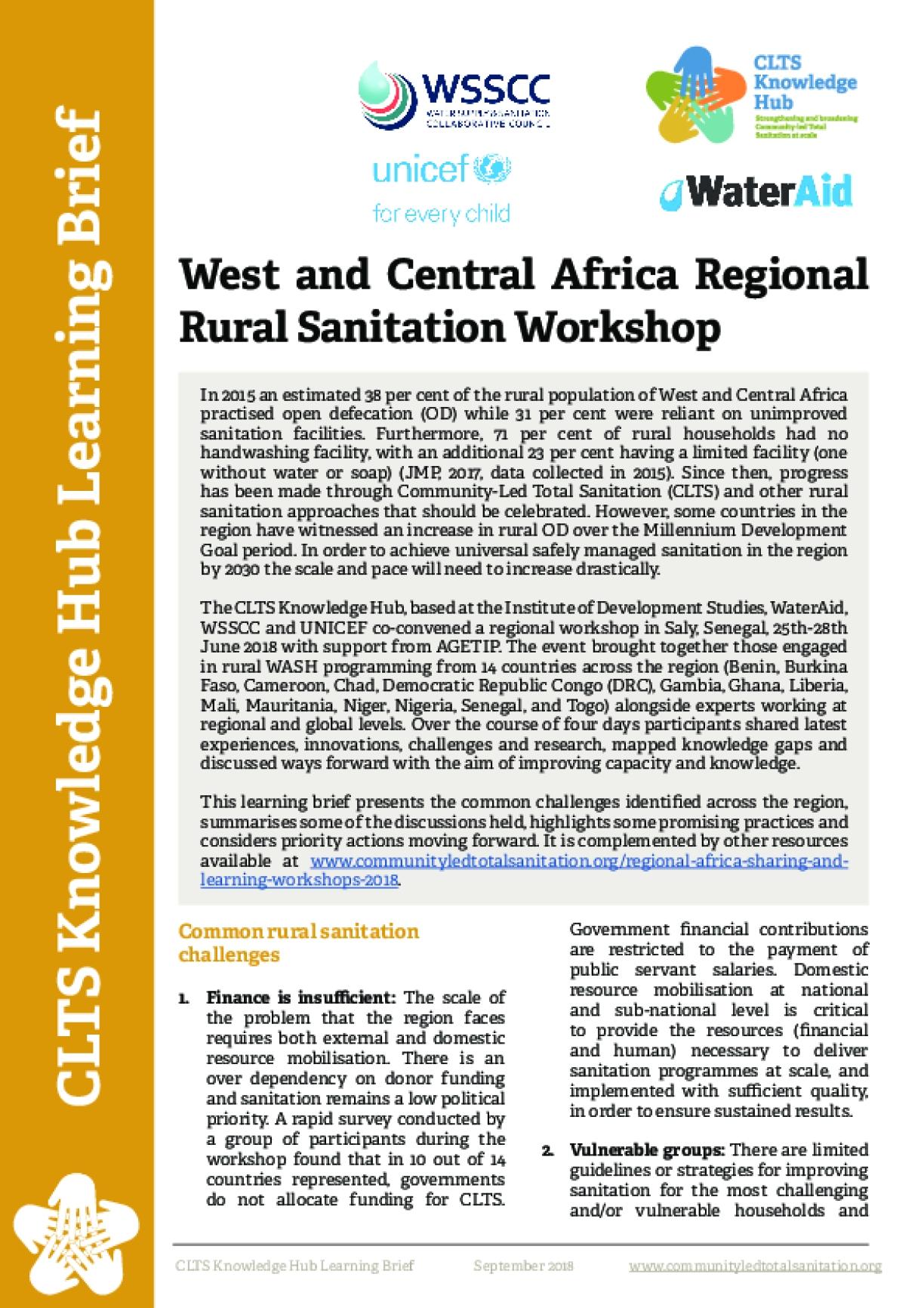West and Central Africa Regional Rural Sanitation Workshop