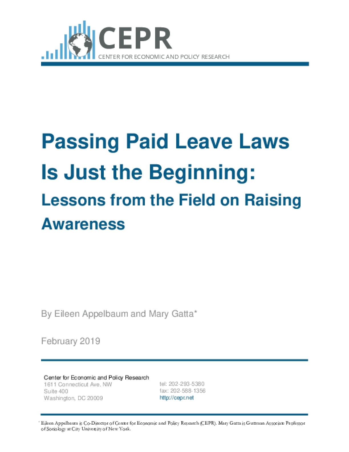 Passing Paid Leave Laws Is Just the Beginning: Lessons from the Field on Raising Awareness