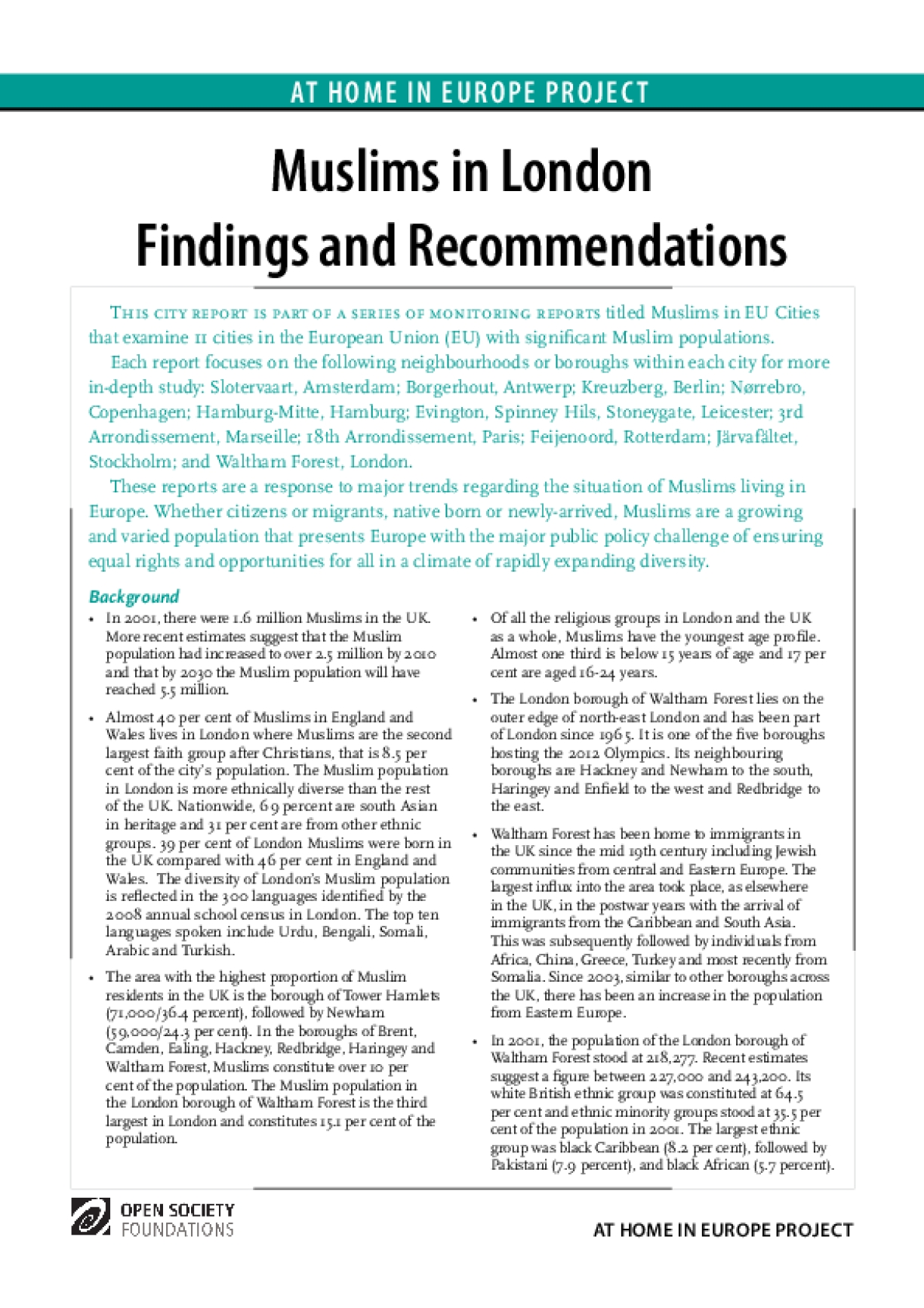 Muslims in London Findings and Recommendations