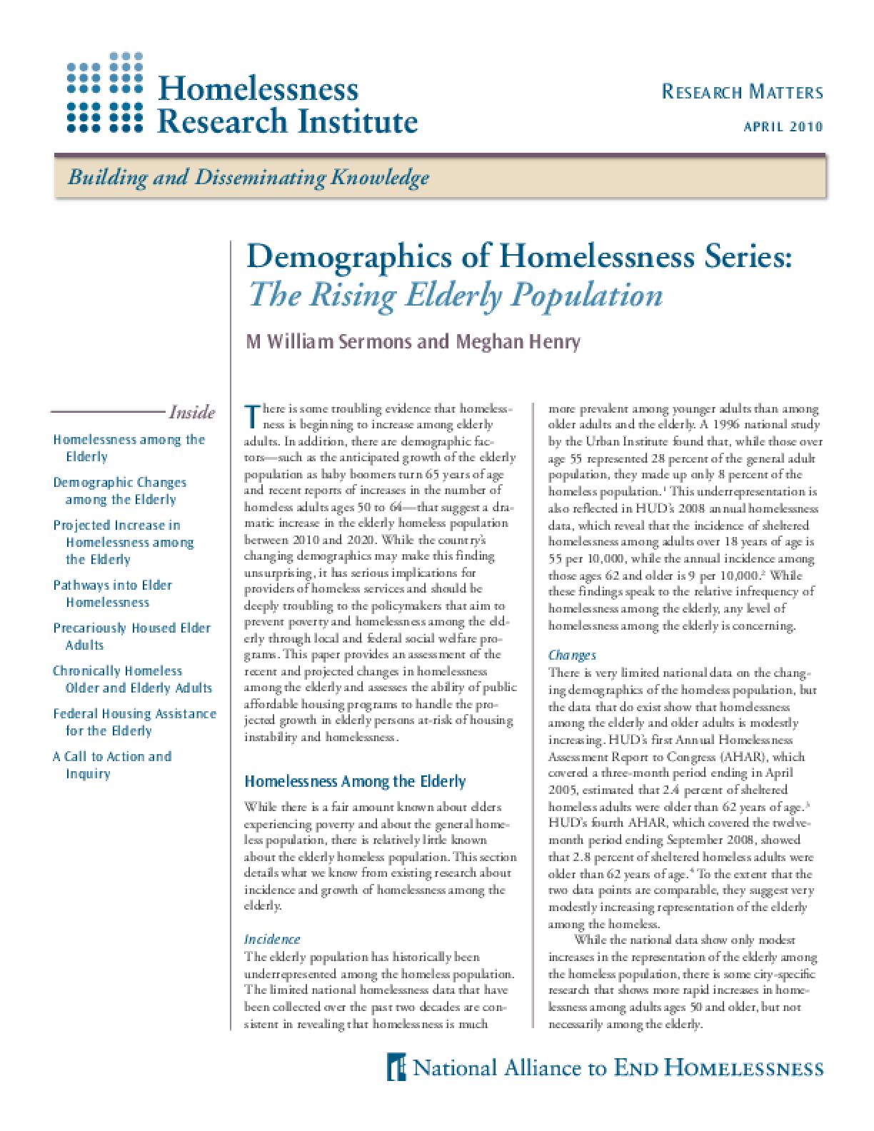 Demographics of Homelessness Series: The Rising Elderly Population